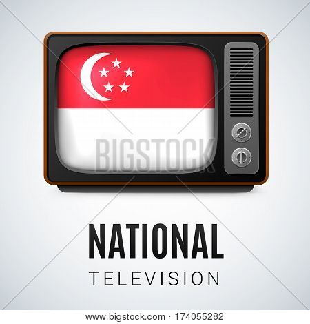 Vintage TV and Flag of Singapore as Symbol National Television. Tele Receiver with Singaporean flag