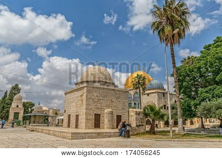 JERUSALEM, ISRAEL - MAY 23, 2016: The Dome of the Rock is an Islamic shrine located on the Temple Mount in the Old City.