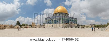 JERUSALEM, ISRAEL - MAY 23, 2016: Panoramic view of the Dome of the Rock, an Islamic shrine located on the Temple Mount in the Old City.