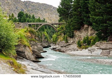 Edith Cavell Bridge over the Shotover River at Queenstown on the South Island of New Zealand