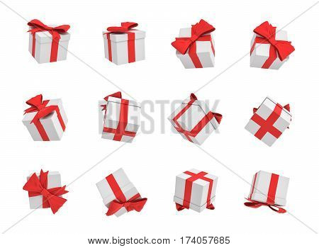 3d rendering of many white gift boxes flying on white background in different views. Promotions and opening parties. Gift template. Lottery winner.
