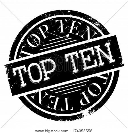 Top Ten rubber stamp. Grunge design with dust scratches. Effects can be easily removed for a clean, crisp look. Color is easily changed.