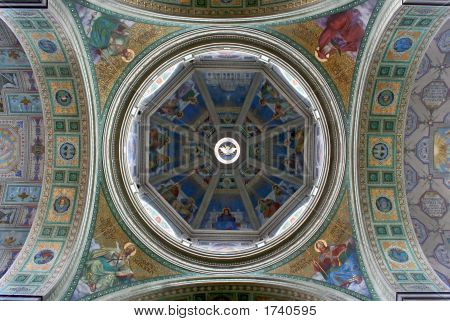 Cathedral in Poland. Dome of cathedral in Plock. poster