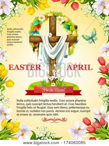 Easter poster of crucifix cross and Christ shroud, paschal eggs and wreath of spring flowers. April Resurrection Sunday religious holiday greeting. Vector snowdrops, valley lily and butterflies