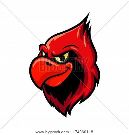 Cardinal bird isolated cartoon mascot. Head of a bird with red crest and aggressive smile. Sporting club mascot, tattoo or t-shirt print design