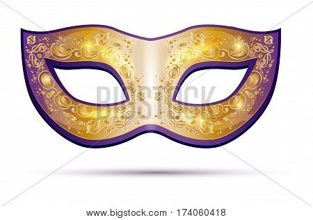 Golden and violet carnival mask isolated on white background - vector illustration
