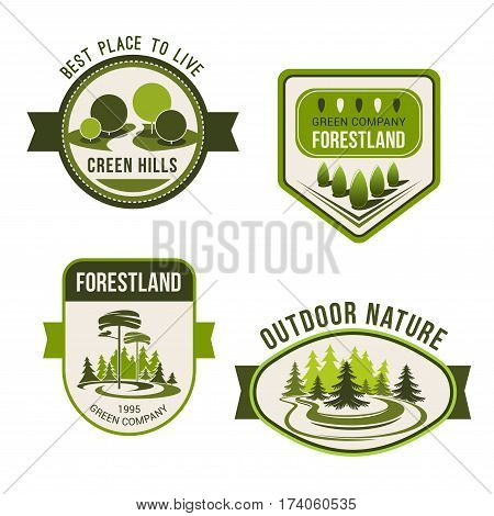 Nature, park, garden square and forest symbol set. Green nature landscape badges with decorative tree and plant, evergreen pine and fir. Public park, outdoor activity, ecology emblem design