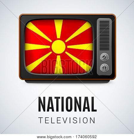 Vintage TV and Flag of Macedonia as Symbol National Television. Tele Receiver with Macedonian flag