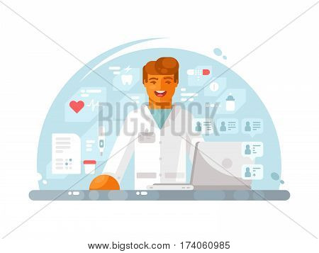 Online doctor consultation. Young medical practitioner treats by internet. Vector illustration