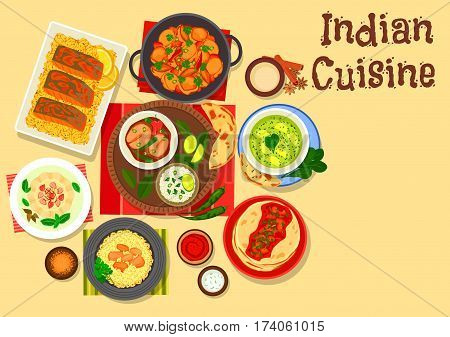 Indian cuisine chicken and fish curry icon served with rice, tomato sauce chutney on flatbread, spinach cheese soup, baked fish, cream dessert with fruits, chilli and potato stew