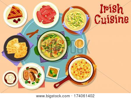 Irish cuisine traditional meat stew icon served with baked pork sausage, potato cabbage mash with bacon, beef roll with vegetables, potato pancake with butter, irish coffee and cherry pie