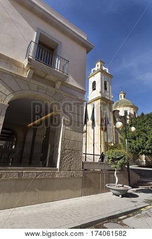 San Vicente del Raspeig, Spain. February 14, 2017: View of the Parish San Vicente Ferrer in San Vicente del Raspeig, Alicante province in Spain.