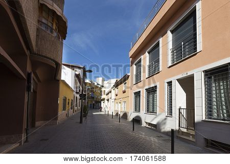 San Vicente del Raspeig Spain. February 14 2017: View of a street in the municipality San Vicente del Raspeig in the province of Alicante Spain.