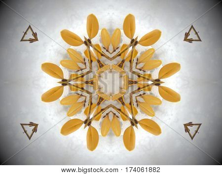 Yellow Plant In Snow Mandala