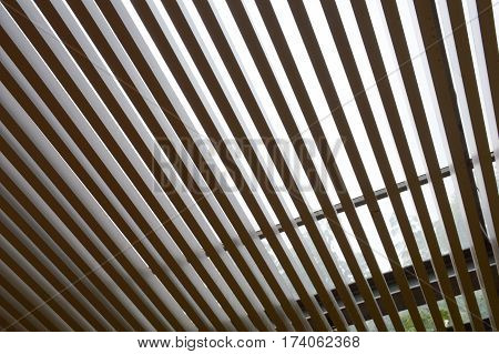 close up steel lath roof texture in garden