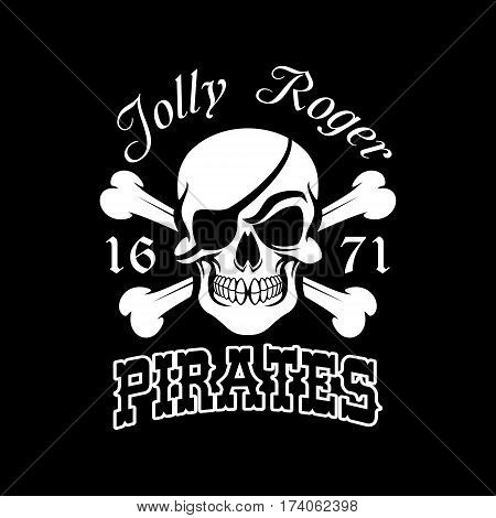 Pirate skull and crossbones symbol. Jolly Roger with eye patch for pirate flag, danger for life sign, Halloween and piracy themes design