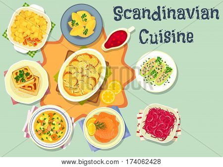 Scandinavian cuisine dinner icon of salmon with mustard sauce, potato casserole with salmon and bacon, beef vegetable soup, cabbage stew, potato dumpling, cabbage casserole, stuffed cucumber with fish