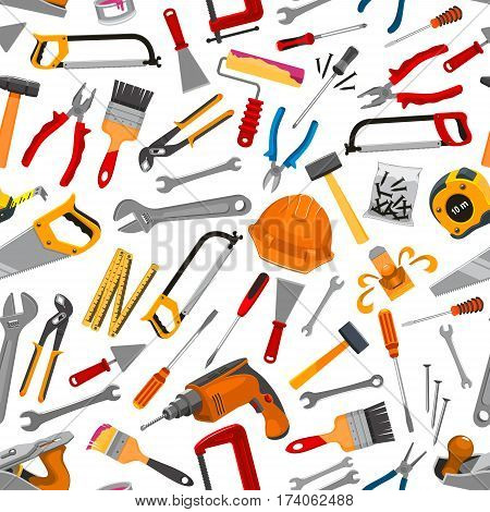 Working tools and equipment for construction and repair seamless pattern. Hammer, screwdriver, wrench and pliers, saw, ruler and drill, brush, roller, spanner, trowel, spatula for DIY design