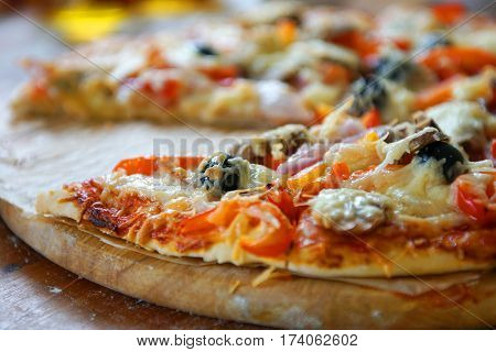 fresh Baked tasty pizza with diferent ingredients