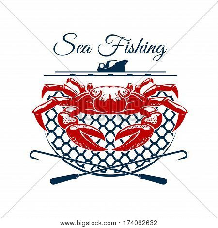 Sea fishing sign. Freshly caught crab in trap with fishing boat on the background. Fishing sport emblem, fisherman club badge or sporting tournament design