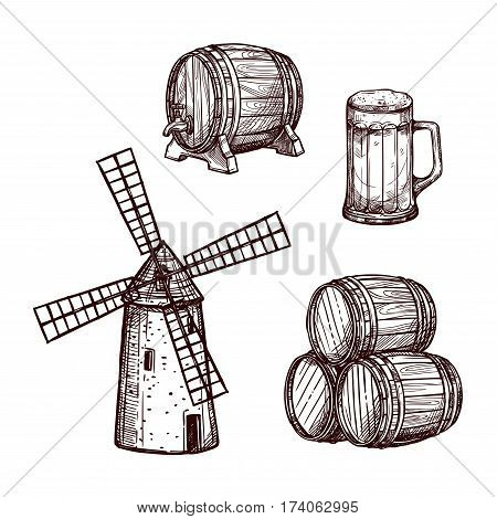 Beer barrel with glass sketch set. Beer mug, stack of wooden kegs and old windmill. Pub or bar symbol, Oktoberfest poster, brewery theme design