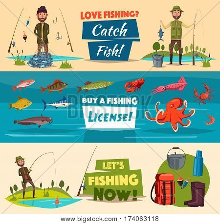 Fishing banner set with fishermen and fish. Fisherman with catch, spinning rod, hook and net, sea and river fish, octopus, crab, squid, shrimp and lobster, fishing gear and tourist equipment