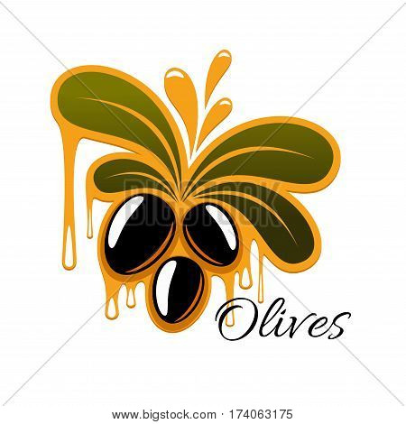 Olive fruit branch with oil drop isolated symbol. Natural oil dripping from fresh olive fruit and leaves cartoon sign for food packaging label, organic farming design