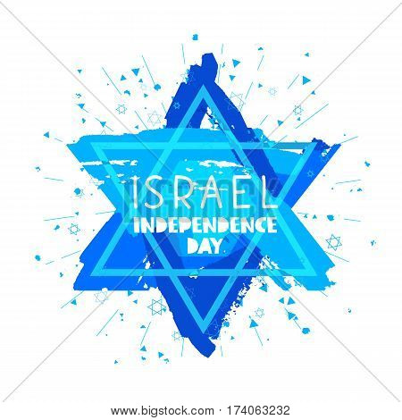 Israel. Independence Day. Lettering. Vector illustration on white background. Star of David. Great holiday hand-drawn gift card.