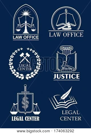 Law office, legal center and justice symbol set. Scale and sword of justice, judge mallet and law book heraldic badges with laurel wreath and shield. Lawyer services themes design