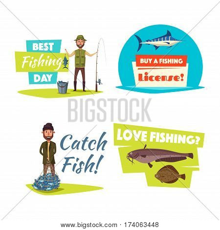 Fishing hobby and sport cartoon icon. Happy fishermen with catch, fishing rod and net, blue marlin, sheatfish and flounder fish symbol. Outdoor recreation, fishing sport club design