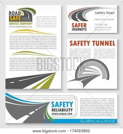 Road construction and highway traffic safety banner template. Transportation and construction service company poster, business card, flyer and brochure design set with road tunnel and asphalt highway