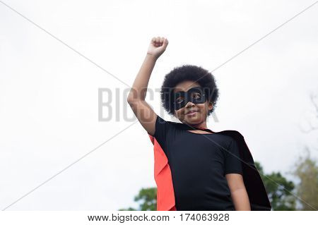 African American Super Hero Child On Launch Stance - With Copy Space