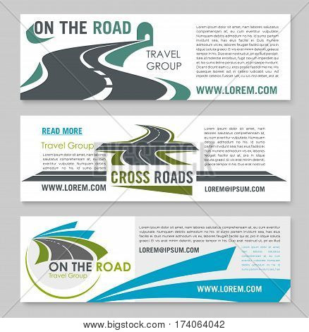 Road travel and transportation company banner template. Mountain road tunnel, crossroad and speed highway symbols with text layout. Travel agency, car journey and tourism design
