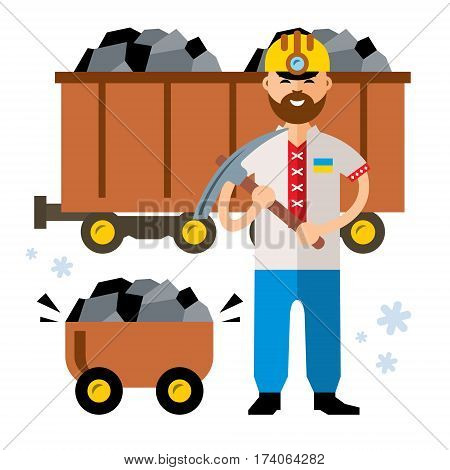 Miner with a pickaxe and wagon with ore. Isolated on a white background