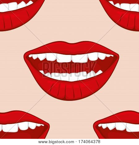 Red smiling womans lips vector seamless pattern. Background with woman lips illustration