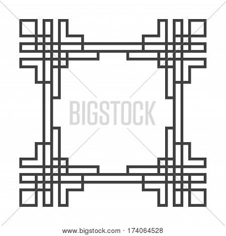 Square asian vector retro frame in black and white. Abstract structure illustration