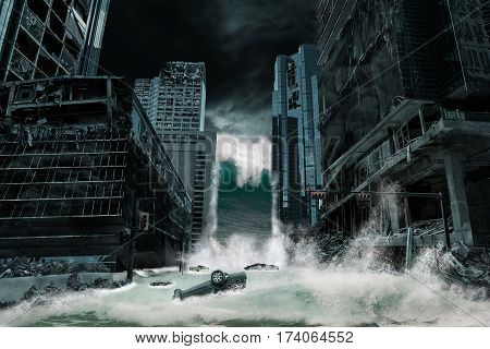 A cinematic portrayal of a city destroyed by Tsunami waves. Elements in this cityscape were carefully created modified and manipulated to resemble a fictitious disaster scene.