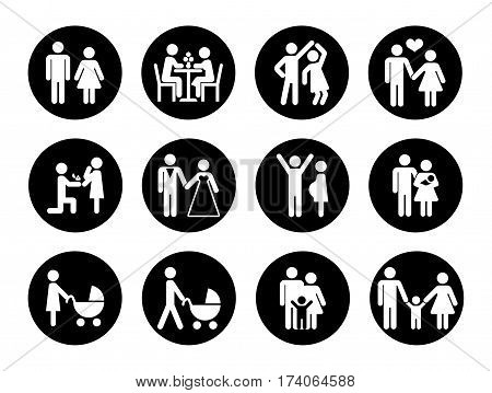 Family vector icons set in black and white. Love family, male and female with child illustration