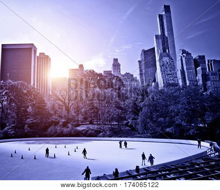 New York ice skaters in Central Park