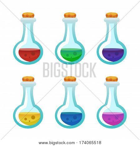 Colorful Potion Bottle Icons Set. Assets Set For Game Design And Web Application.