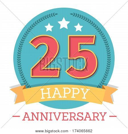 25 Years anniversary emblem with ribbon stars and laurel wreath, vector eps10 illustration