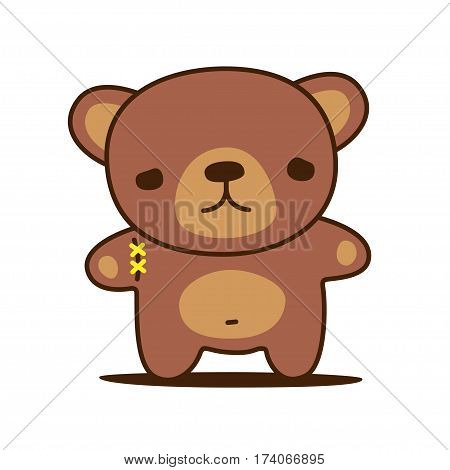 Poor kawaii teddy bear with sewn paw. Vector illustration.
