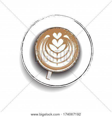 hot latte ,coffee icon set , heart