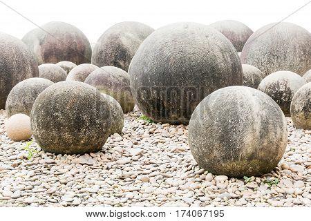 Stone in Japanese garden on white background Zen stone in a Japanese garden