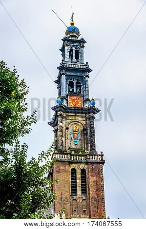 Westertoren of the Wester Church in Amsterdam with its bell tower. The tower is mentioned by Ann Frank in her Diary. The Anne House is only half a block from the church