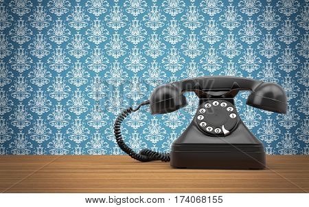 Vintage rotary phone on the wooden table. 3d rendering