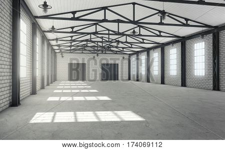 Clean bright empty warehouse interior. 3d rendering