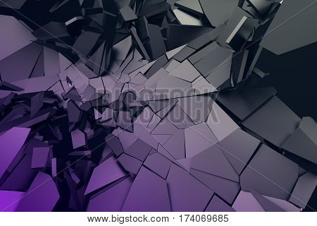 Abstract 3d rendering of cracked surface. Background with broken purple shapes. Wall destruction. Bursting with debris. Modern cgi illustration.