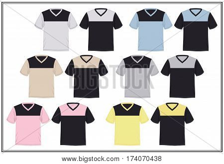 Template t-shirt template V neck combinations , vector.