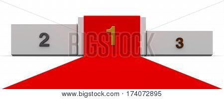 White podium with three rank places and red carpet three-dimensional rendering 3D illustration